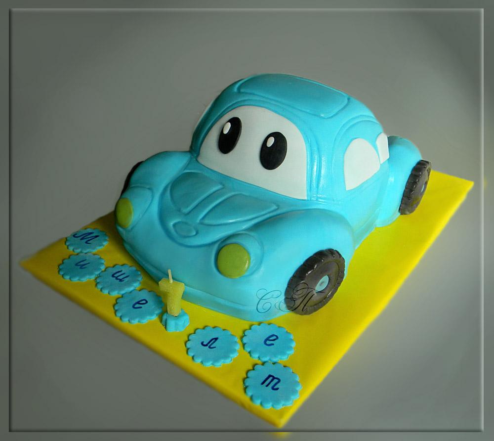 Торт с машинками из мастики детский