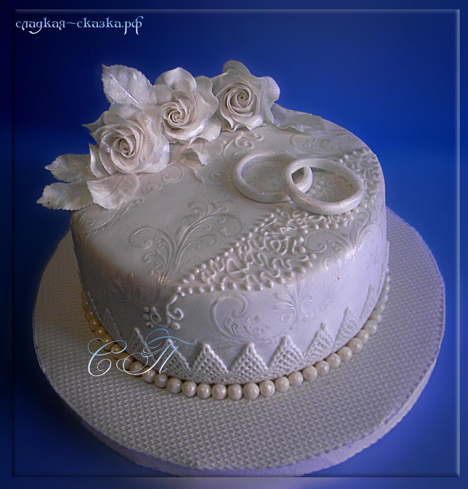 Торты с мастикой для серебряной свадьбы